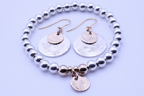 Filled Gold and Sterling Silver Earrings and Bracelet Set | KVD11003