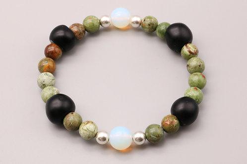 Green Opal - Black Bracelets