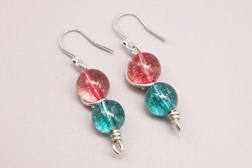 Blue & Pink Ice Crystal Earrings