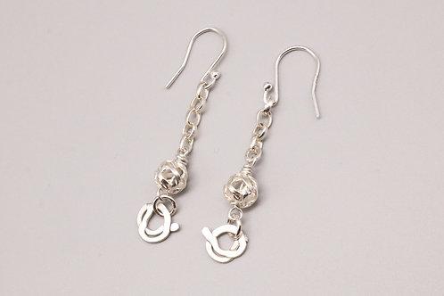 Sterling Silver Dangle Ball Earring