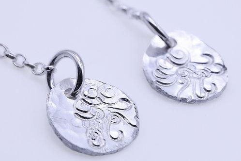 Swirl meets circle dangle earrings