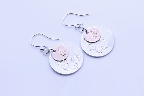 Double Circle Gold and Sterling Silver Earring