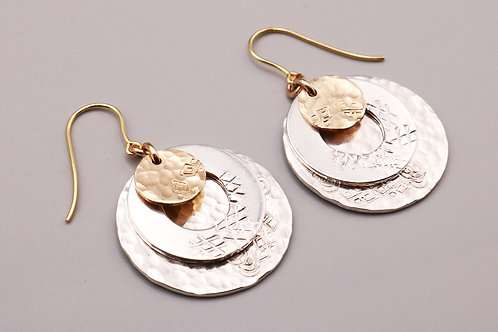 Silver-Gold Circle Hammered Earring