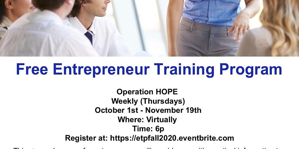 Entrepreneur Training Program Fall 2020