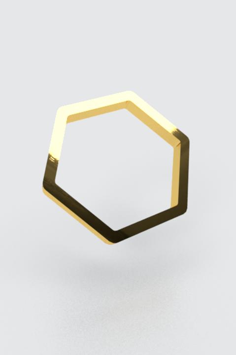 Bague hexagonale or jaune 750/1000ème