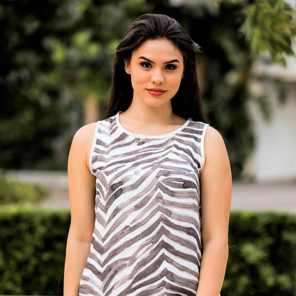 Crew Neck Dress Charcoal Zebra