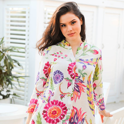 Linen Printed Pink Ornament Tunic