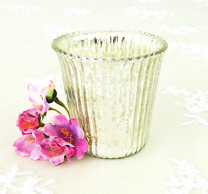 Antique small mercury silver candle holder