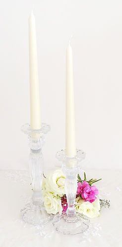 vintage glass taper candle set prop hire wedding and events