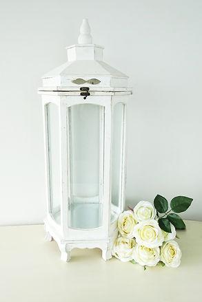 Shabby chic lantern white large candle holder