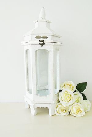 white shabby chic lantern small wedding