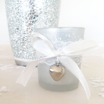 ribbon and heart silver candle holder holder tealight