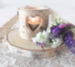 bark heart tealight candle holder wedding