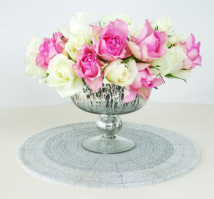 glass beaded centerpiece mat display