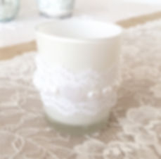 Lace and pearl candle holder tealight holder