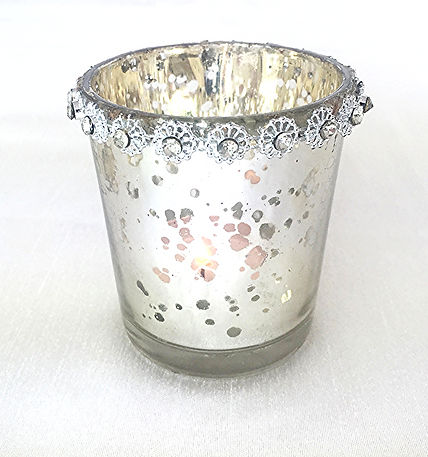 Antique flower rimmed candle holder silver