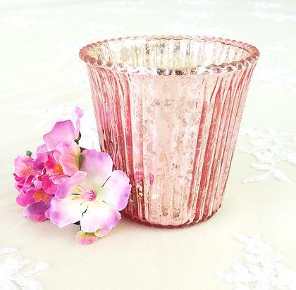 Pink mercury candle holder