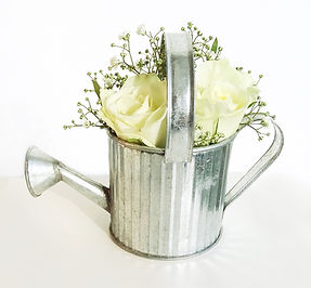 tealight or vase silver watering can prop hire wedding and events