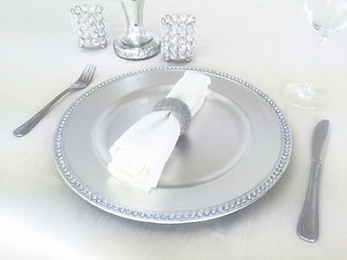 silver charger plate prop hire