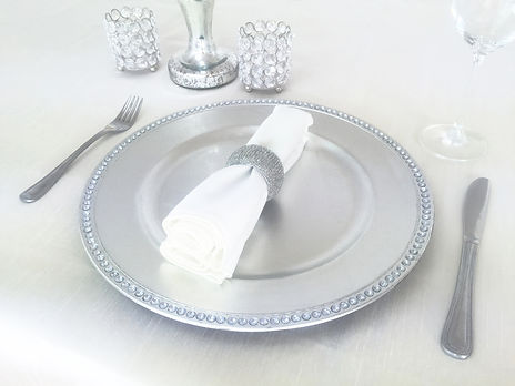 silver charger plate prop hire wedding and events