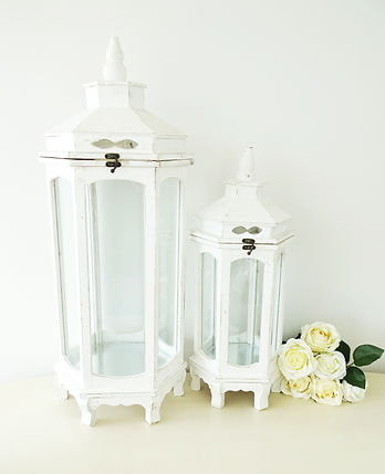 small and large lanterns shabby chic white