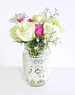 jam jar lace vase prop hire wedding and events