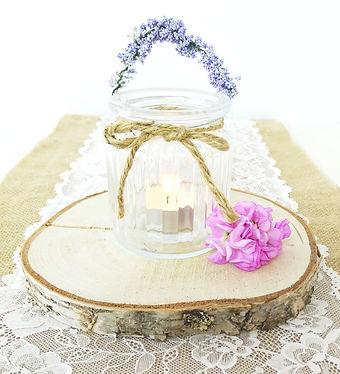 Jar with lavender tealight candle holder