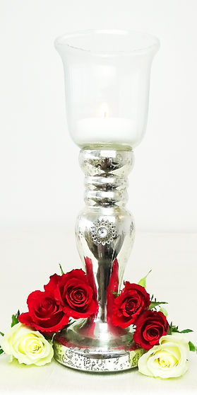 glass silver mercury jewel candle holder