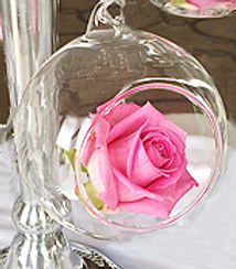 hanging glass baubble prop hire wedding and events