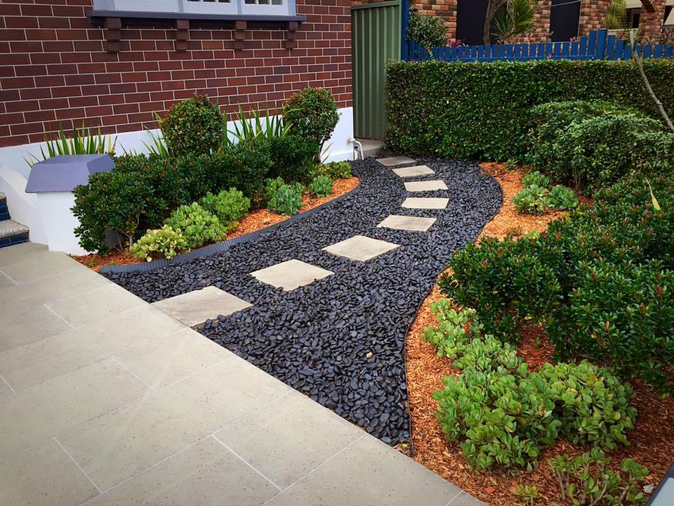paved stepping path and pebbles at ashbury