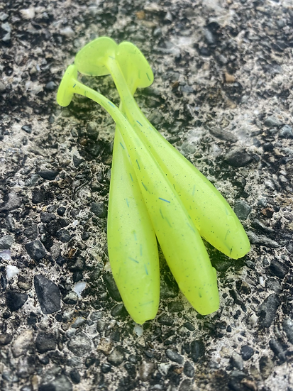 3inch Chartreuse Blue Paddle Tails
