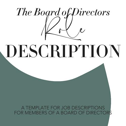 Board of Directors Role Description