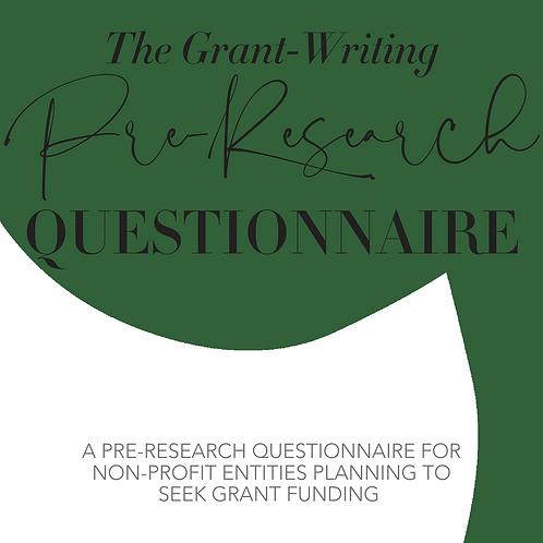 Grant Seeking Pre-Research Questionnaire