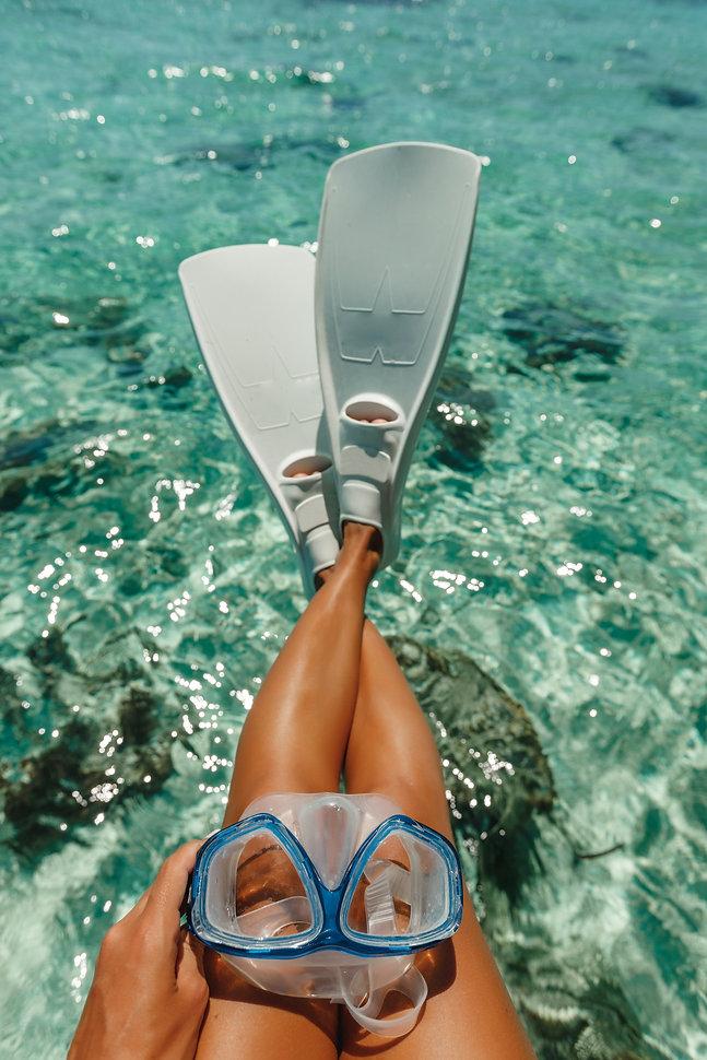 Beach vacation travel snorkel woman legs