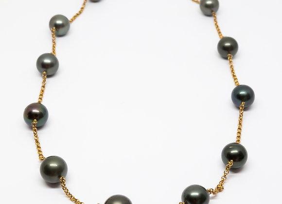 N13 Big Round Black Pearl Necklace w/Chain