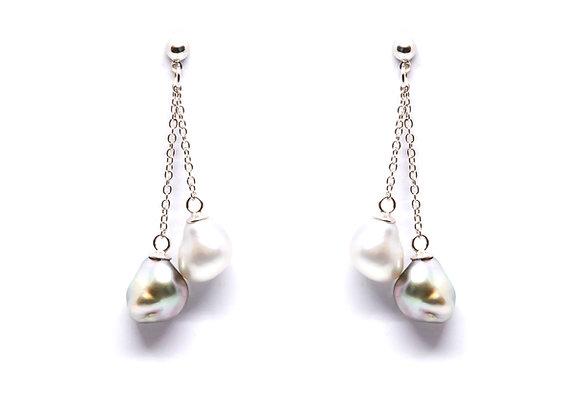 E19 Double Pearl Chain Black Pearl Earrings