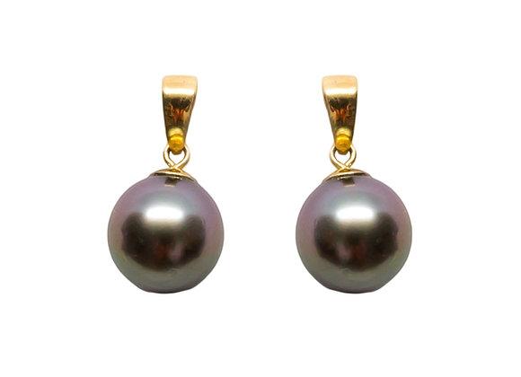 E38 Tapered Black Pearl Earrings