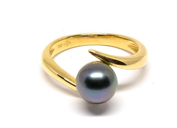 R2 Diagonal Black Pearl Ring