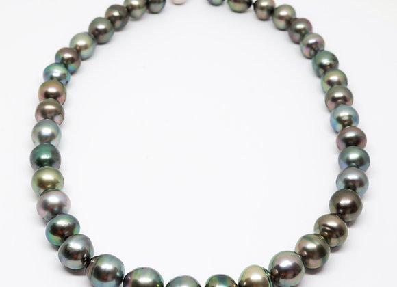 N8 Big Semi-Baroque Black Pearl Necklace