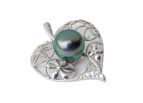 P1 Heart Black Pearl Pendant