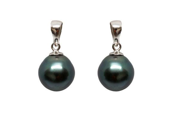 E40 Tapered Black Pearl Earrings
