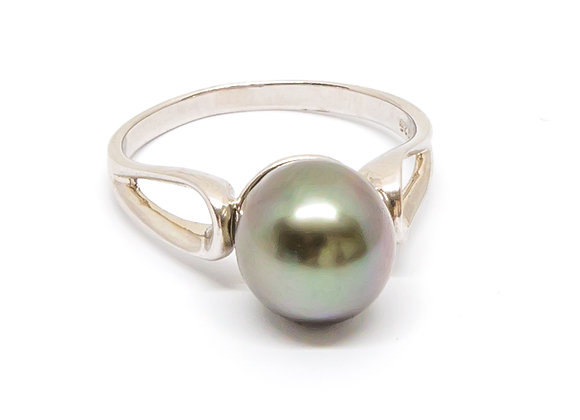 R14 Open Band Black Pearl Ring