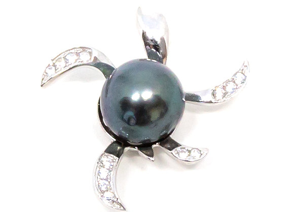 P14 Turtle w/CZ Black Pearl Pendant