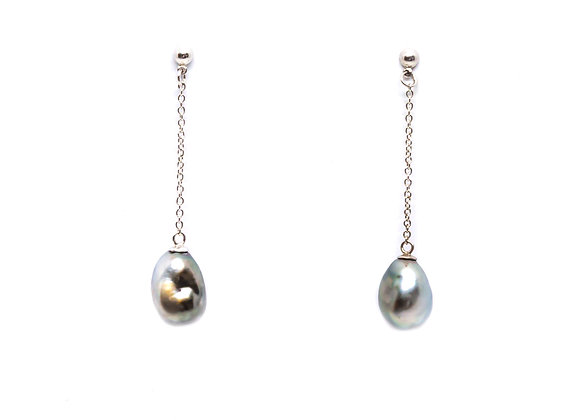 E24 Keshi Pearl Chain Drop Black Pearl Earrings