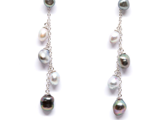 E22 Five Pearl Chain Drop Black Pearl Earrings