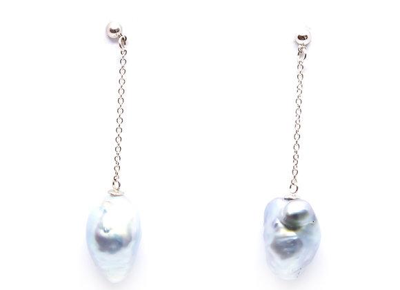 E12 Baroque Pearls Drop Black Pearl Earrings