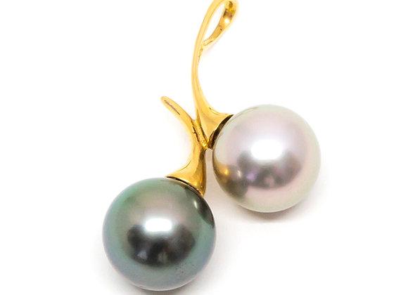 P30 Me/You Diagonal Black Pearl Pendant