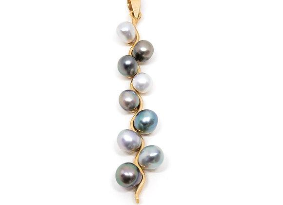 P24 Nine Keshi Pearl Grape Black Pearl Pendant