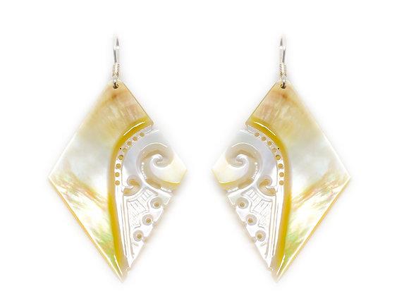 E30 Mother of Pearl Diamond Shape Earrings