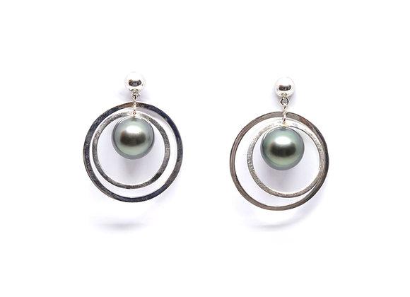 E21 Double Hoop Black Pearl Earrings